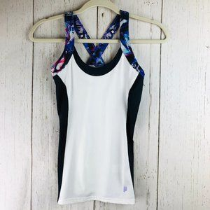 3/$25 Prince cross back white black tank top XS